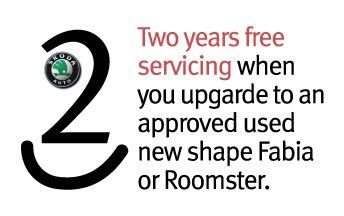 Two years free servicing on approved used, new shape Fabia and Roomster in Teesside